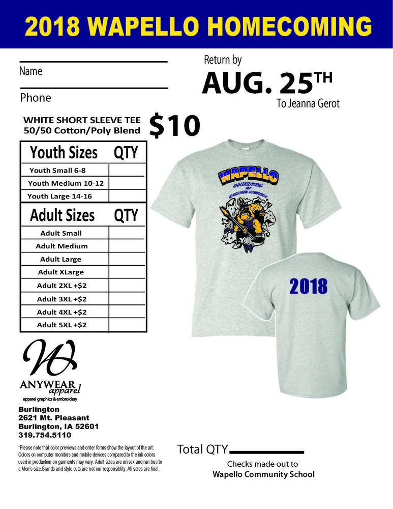 Wapello Homecoming T-Shirts Available for Pre-Order