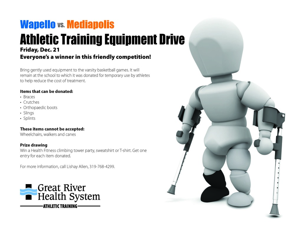 Wapello HS Athletics to Host Athletic Training Equipment Drive with Great River Health Systems