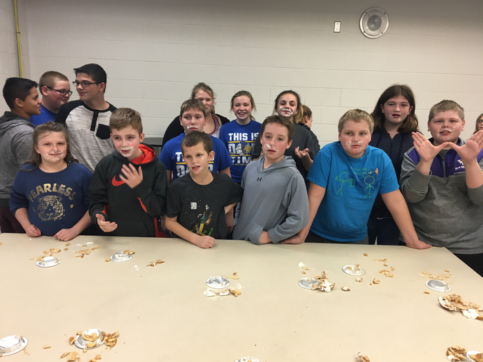 Middle schoolers who competed in the mini pie eating contest