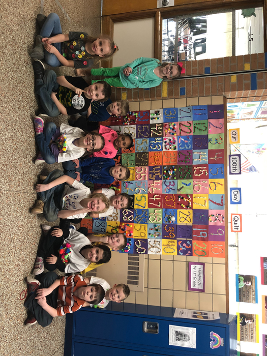 Mrs. Dopler's first grade class celebrating the 100th day of school!