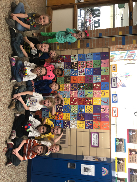 Mrs. Dopler's first grade class celebrating the 100th day of school!!!