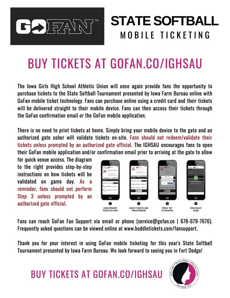 info for tickets at State Softball