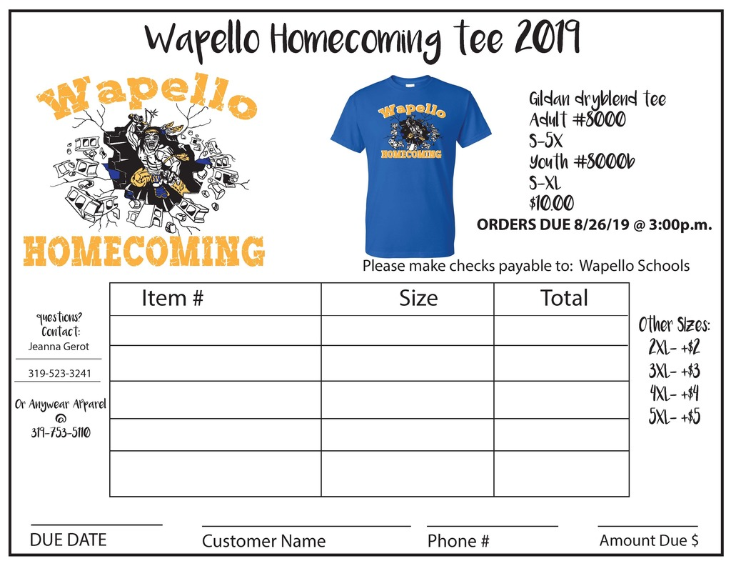 Homecoming T-Shirt Order Form