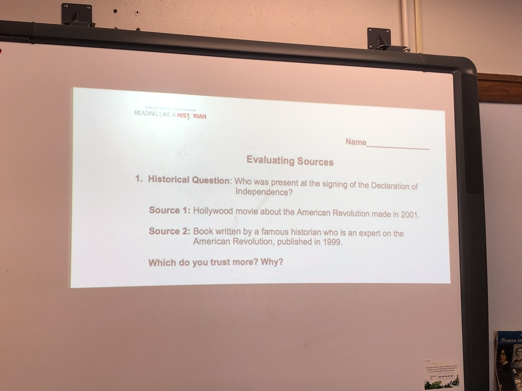 An example of how they are evaluating sources