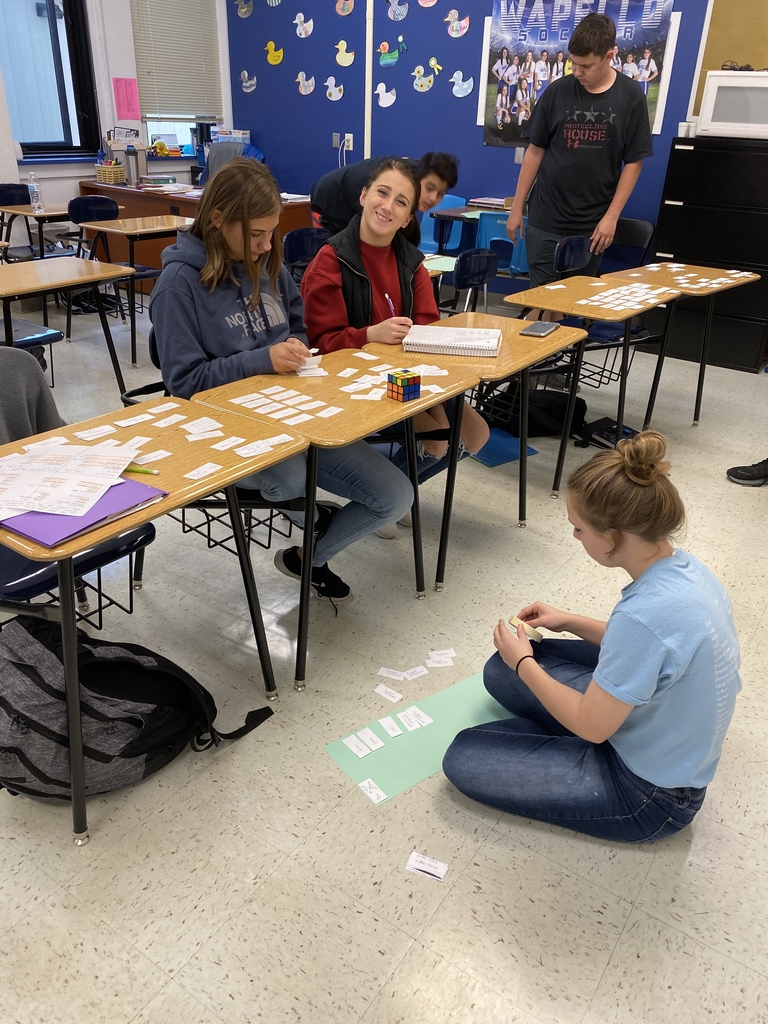 Students sort through proof statements and reasons in Geometry.