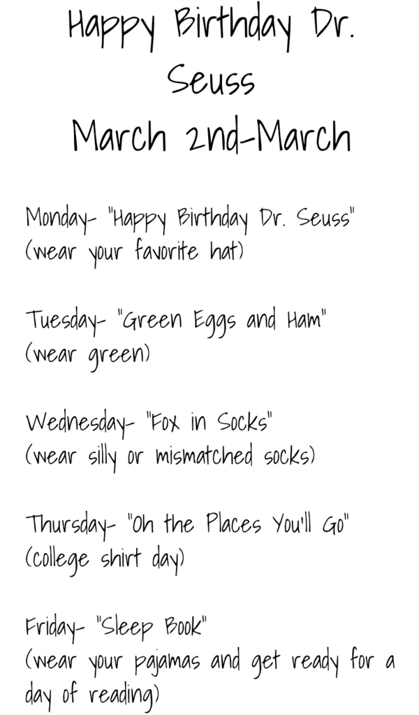 Dress up days for next week (March 2-6)
